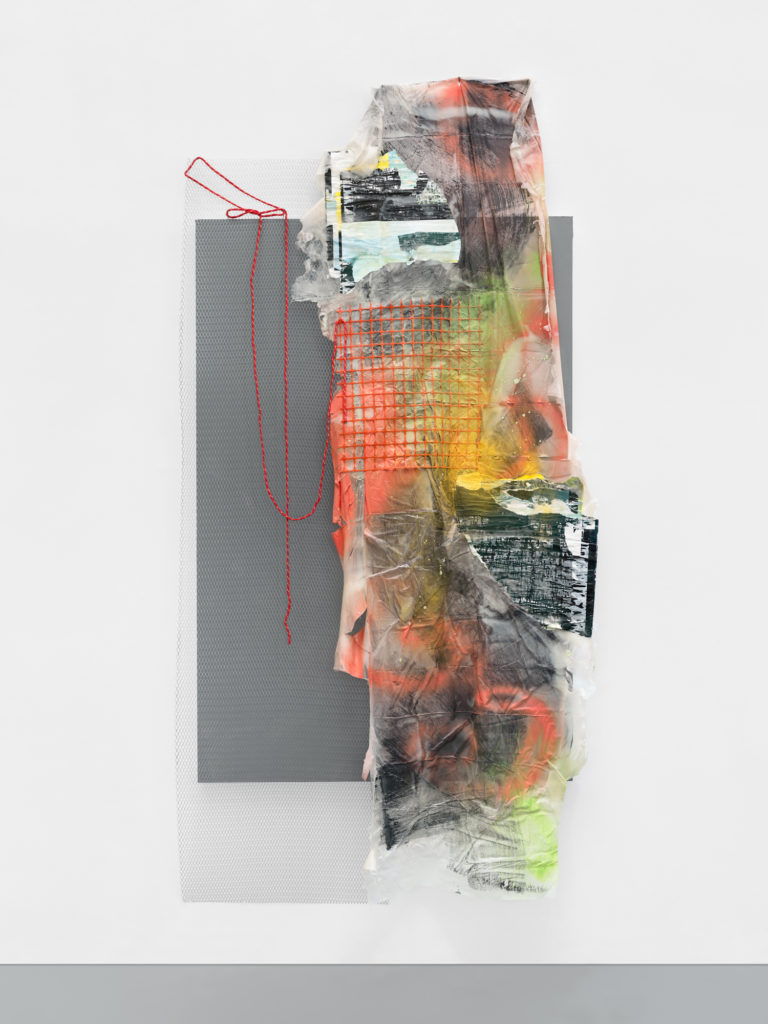 """<em>Detour</em> Mixed media, Acrylic, spray paint, found paper, construction netting, mesh screen, rope and plastic on wood panel 53x104.5x5.75"""" 2020"""