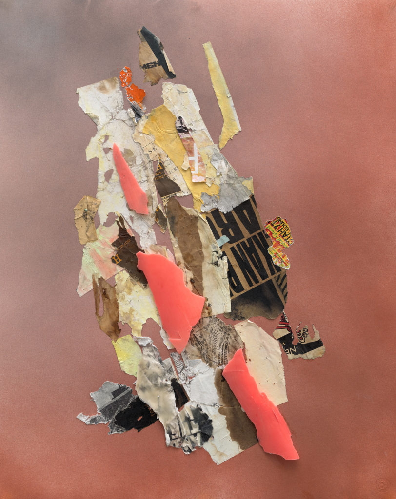 """<em>Fire Map II</em> Found paper, plastic , and spray paint on archival board 29x23"""" 2020"""