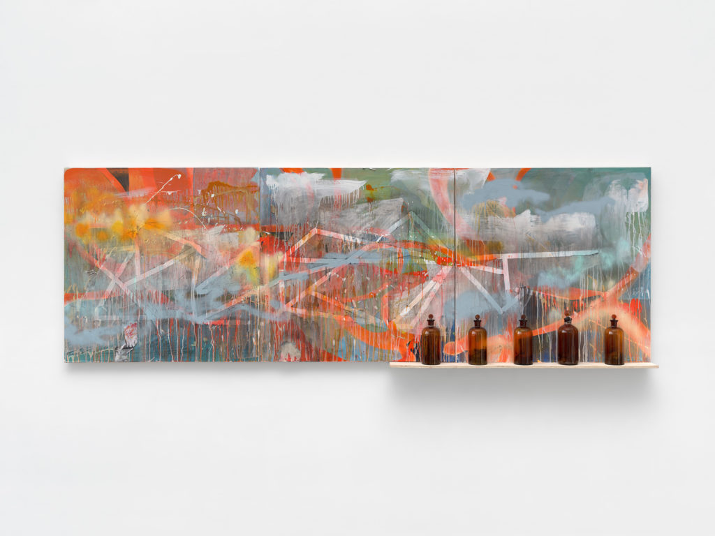 """<em>Fire Map with Ash </em> Acrylic, ash, and spray paint on panel with glass bottles, ash and twigs and plywood 36.5x108"""" 2020"""