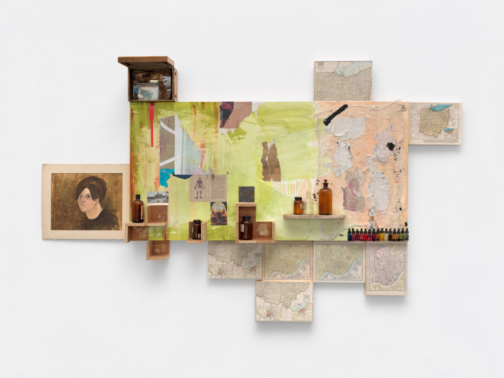 """<em>Ohio Lament </em> Acrylic, oil, found and antique paper wood, glass bottles, ink bottles, iron plate, medical debris, lead, leaves, rusted nails, stone, shell, microscope box  67.5x110x13.5"""" 2021"""