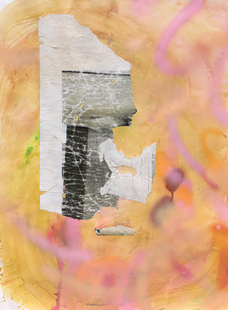 """<em>Pandemic Window</em> Found paper,  acrylic and spray paint on archival board   30x22"""" 2020"""