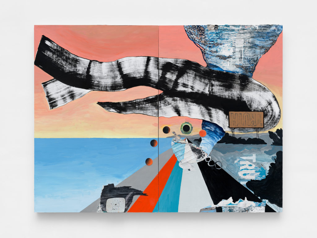 """<em>Past+Present+Future </em> Diptych,  mixed media, acrylic, found paper collage, rearview mirror and wood on panel 72x96"""" 2021"""