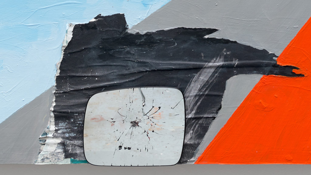 """<em>Past+Present+Future </em> (Detail),  mixed media, acrylic, found paper collage, rearview mirror and wood on panel 72x96"""" 2021"""