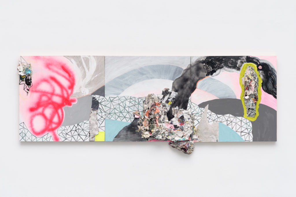 "<em>Persist - Triptych </em> Acrylic, spray paint, found paper, plexiglas, and staples on panel, 36x108"" 2018"