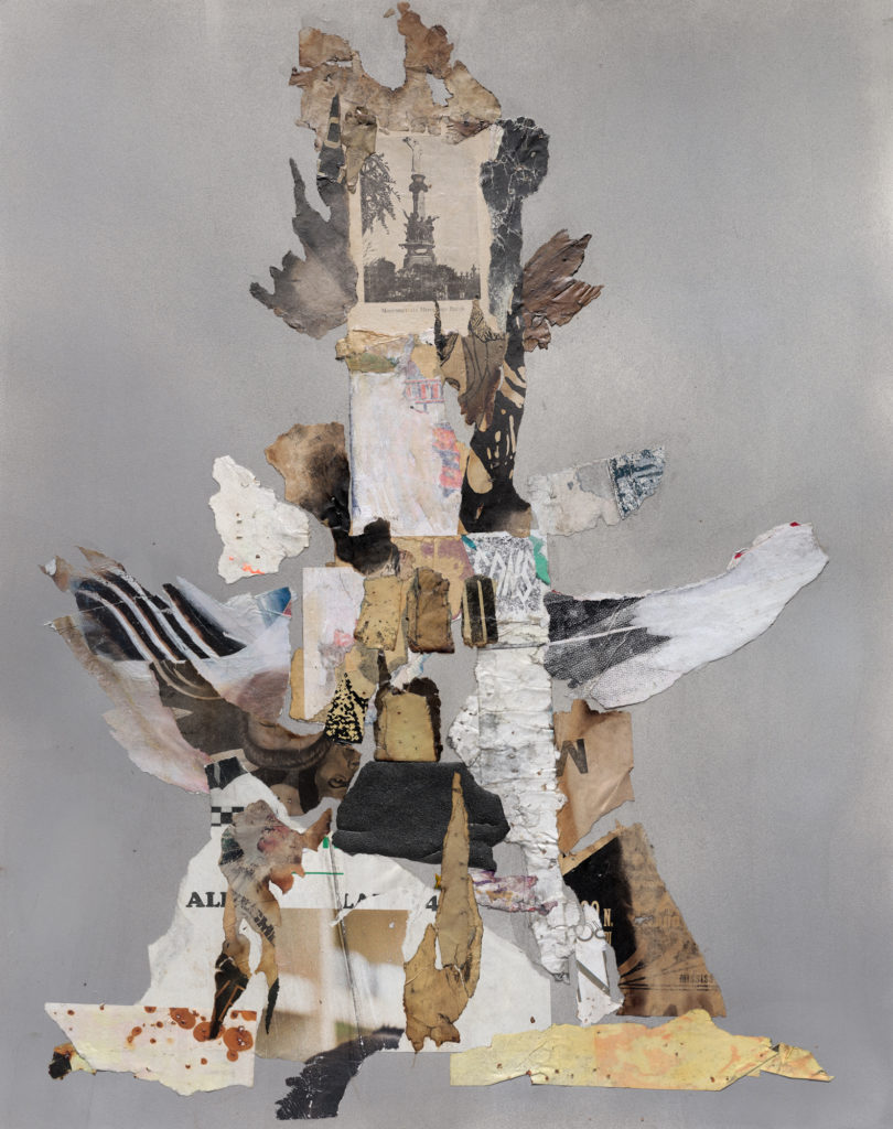 """<em>Plinth for the Monument to the Heros</em> Found and antique paper and spray paint on archival paper 29x23"""" 2020"""