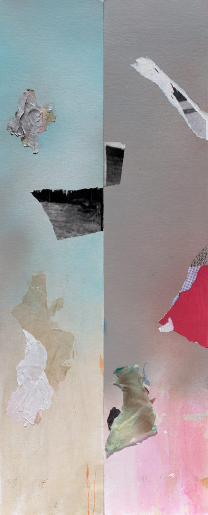 """<em>Skylight with Floating Objects</em> Spray-paint and watercolor with found paper on archival board 32x13"""" 2020"""