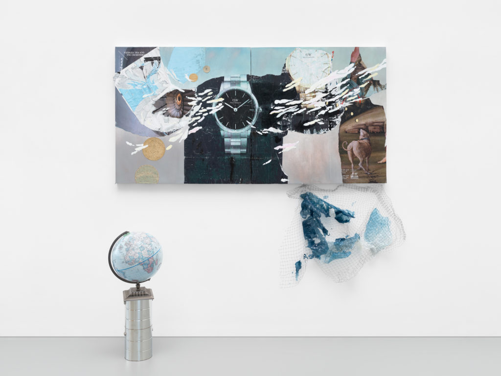 <em>Time is a Flat Circle </em> Found paper, acrylic and spray paint on panel with globe, paint cans, bird netting with acrylic medium, dimensions variable 2020