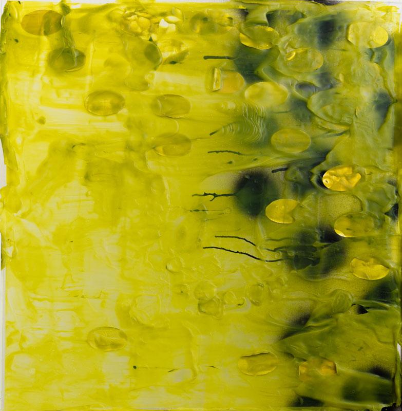 "<em>Untitled Landscape1 </em>(Side B) Mixed media, found paper and acrylic on plexiglas, 26"" x 25.5"" 2016"