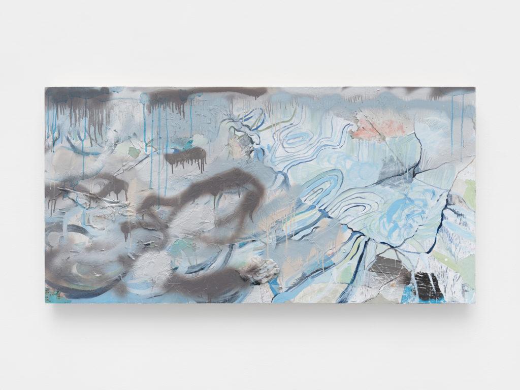 "<em>Vortex</em> Acrylic, spray paint, found paper on panel 30x60"" 2020"