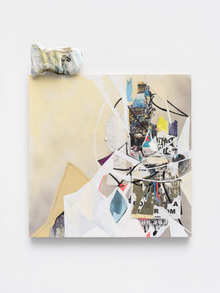 """<em>Whitewash </em> Found paper, staples, spray paint and acrylic on panel with medical head mould 42.75x36x4"""" 2020"""