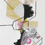 """Six Feet, Found Paper on Mat Board, 20"""" x 30"""", 2016"""