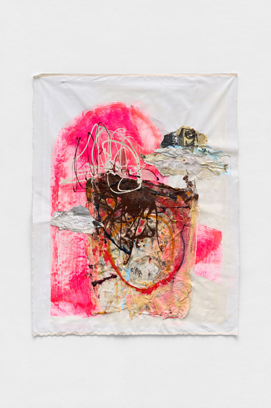 """<strong>Aperture </strong><br/>60"""" x 48"""" Acrylic, Found Paper, Spray Paint, Muslin and Staples on Canvas  2019"""