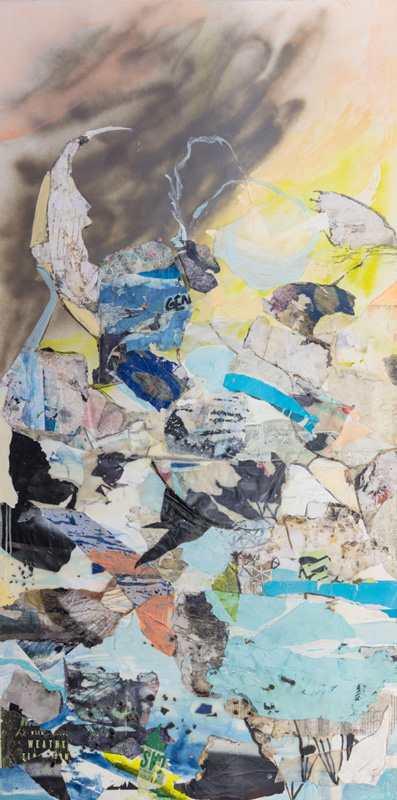 """<em>ARk </em> (Detail) Acrylic, spray paint, found paper, and found glass on panel, 36x72"""" 2018"""