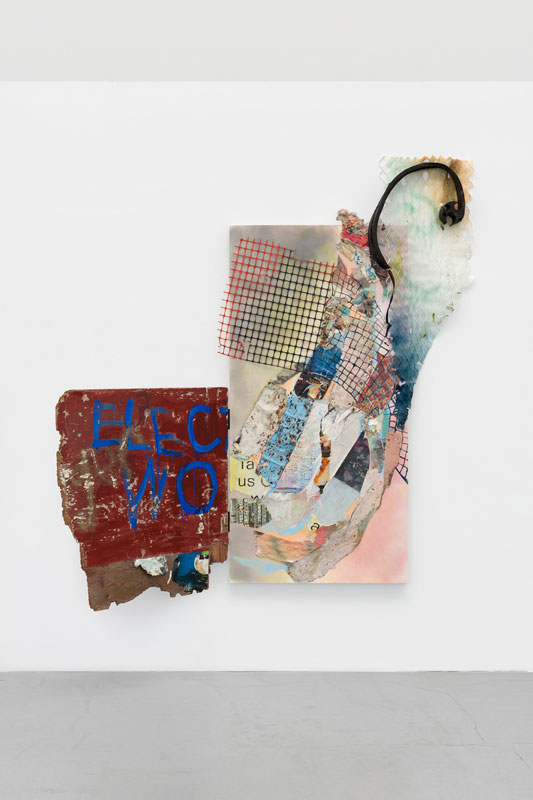 """<em>Elect </em> Found paper, found plywood, acrylic, spray paint, construction netting, staples, muslin, marine netting, hinges, squirrel protector on panel, 86x72"""" 2019"""