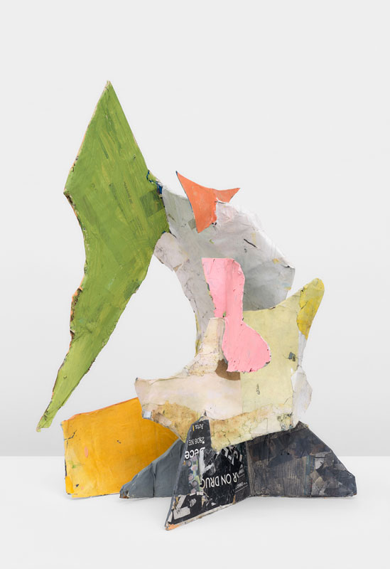 """<em>I'm Flying </em>(Front) Papier mache, acrylic paint 36x27x26"""" 2019"""