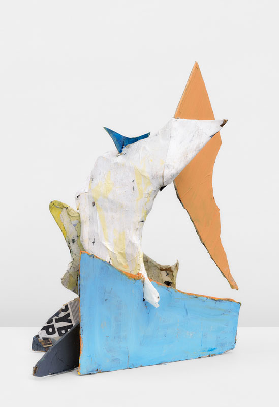 """<em>I'm Flying </em>(Back) Papier mache, acrylic paint 36x27x26"""" 2019"""