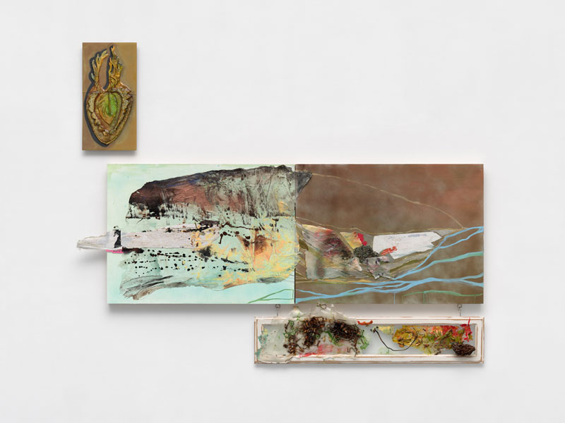 <em>Kelly's Cove </em> Acrylic, spray paint, muslin, glass, found window, found seaweed, eye bolts and hooks, oil, found paper, vintage paper, maps, on panel, dimensions variable 2019