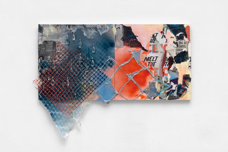 "<em>Melt the Ice </em> Acrylic, found paper, spray paint, construction netting, muslin, marine netting, teardrop crystals on panel, 55x72"" 2019"