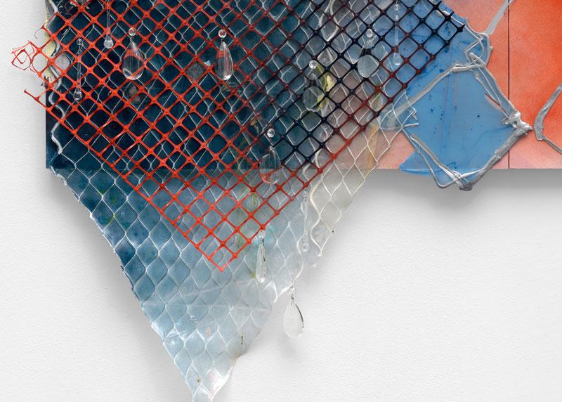 "<em>Melt the Ice </em>(Detail) Acrylic, found paper, spray paint, construction netting, muslin, marine netting, teardrop crystals on panel, 55x72"" 2019"