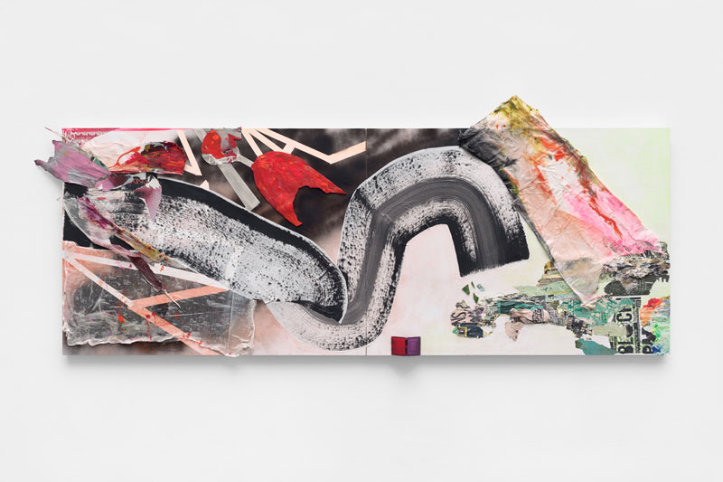 """<em>New Normal</em> (Side A) Diptych, mixed media, found paper, cheesecloth, broken glass, acrylic and spray paint, 96x36"""" 2019"""