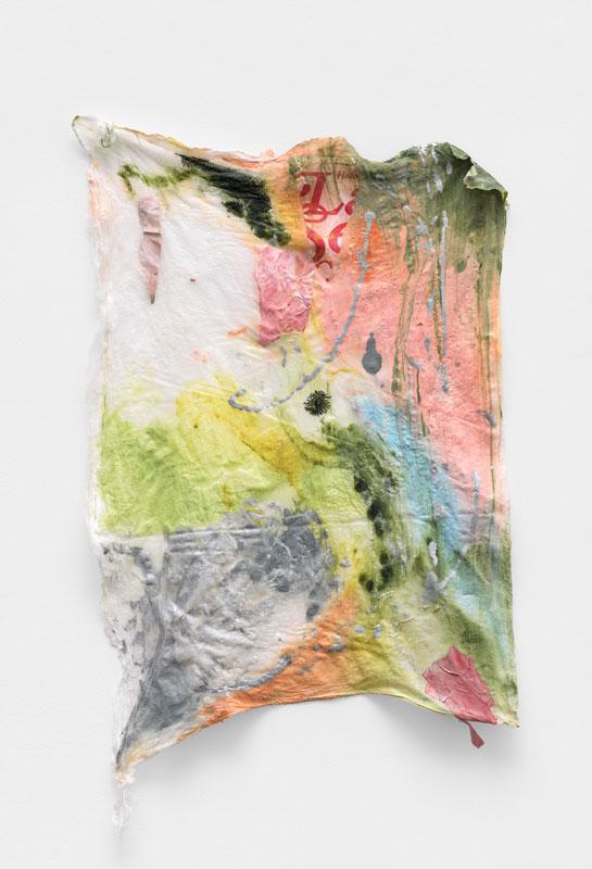 "<em>Pretty Scrap </em>  Acrylic, found paper, spray paint on muslin, 32x22"" 2019"