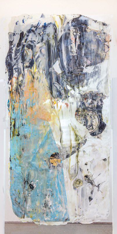 """<em>Skin 2 </em> (Side A)  Acrylic, acrylic medium and found paper, 30x56"""" 2017"""
