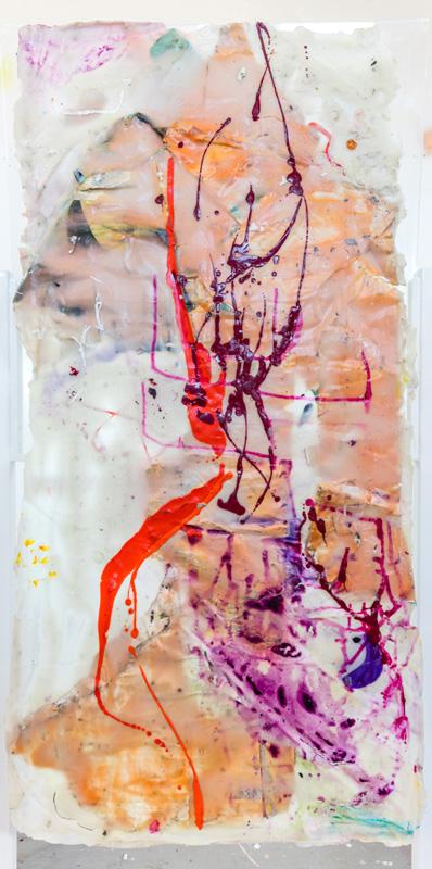 """<em>Skin 3 </em> (Side A) Acrylic, acrylic medium and found paper, 32x66"""" 2017"""
