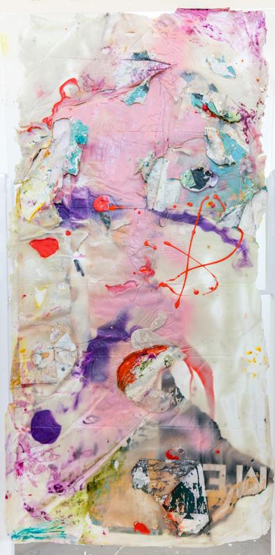 """<em>Skin 3 </em> (Side B) Acrylic, acrylic medium and found paper, 32x66"""" 2017"""